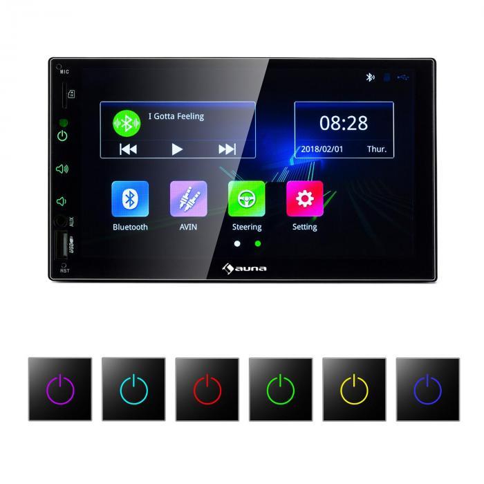 Auna MVD-400 radio samochodowe 7-calowy ekran dotykowy 4x45W BT Android Auto USB 2 DIN czarne
