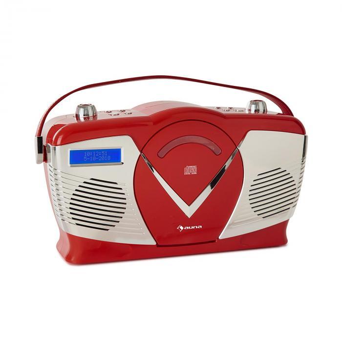 Auna RCD-70 DAB Radio retro CD UKF DAB+ odtwarzacz CD USB Bluetooth kolor czerwony