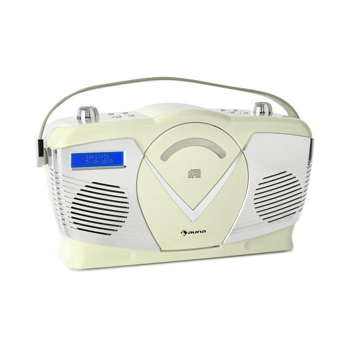 Auna RCD-70 DAB Retro Radio CD UKF DAB+ odtwarzacz CD USB Bluetooth kolor kremowy
