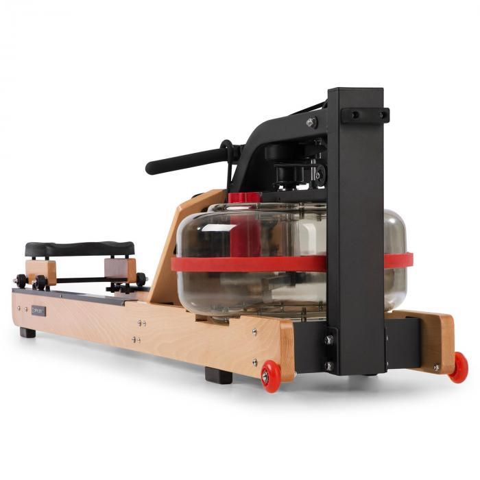 Stoksman 2.0 Wasserrudergerät Ruderbank | 120 cm Doppel-Gleitbahn | Wasserwiderstand mit Regulierung durch Wasserfüllstand | platzsparend aufstellbar | 4-stufige Fußrasten | Trainingscomputer mit LCD-Display | max. Gewicht: 170 kg | Echtholz