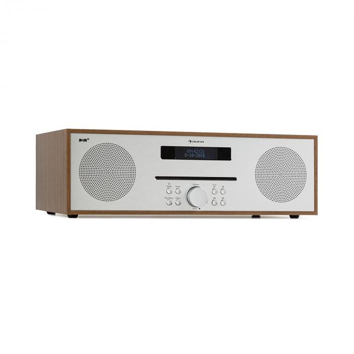 Auna Silver Star CD-DAB Odtwarzacz CD 2 x 20 W maks. Slot-In DAB+ BT aluminium kolor brązowy
