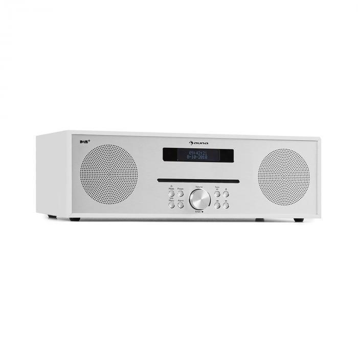 Auna Silver Star CD-DAB Odtwarzacz CD 2 x 20 W maks. Slot-In DAB+ BT aluminium kolor biały