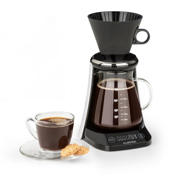 Klarstein craft coffee Ekspres do kawy waga timer dzbanek szklany nasadka filtrująca 600 ml kolor czarny/biały
