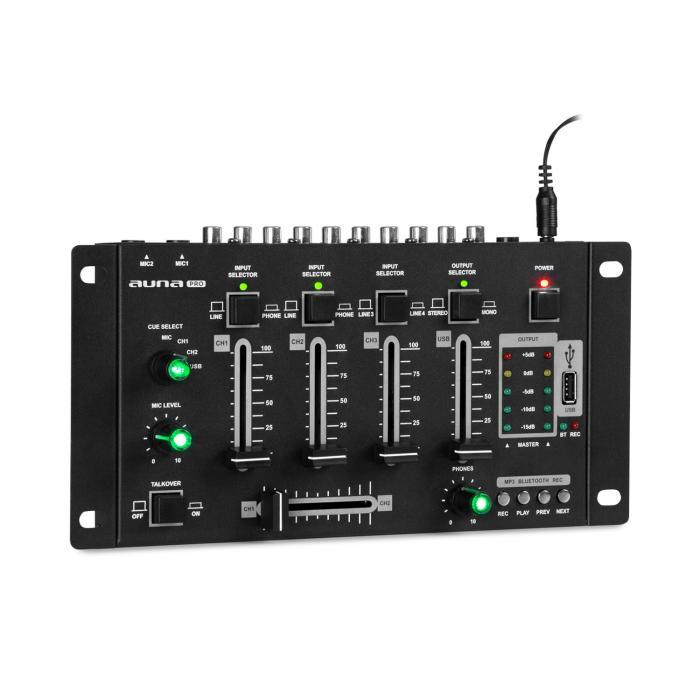 Auna Pro Amnesia 4-kanałowy pulpit mikserski, BT, USB, MP3, 2 x micro, kolor czarny