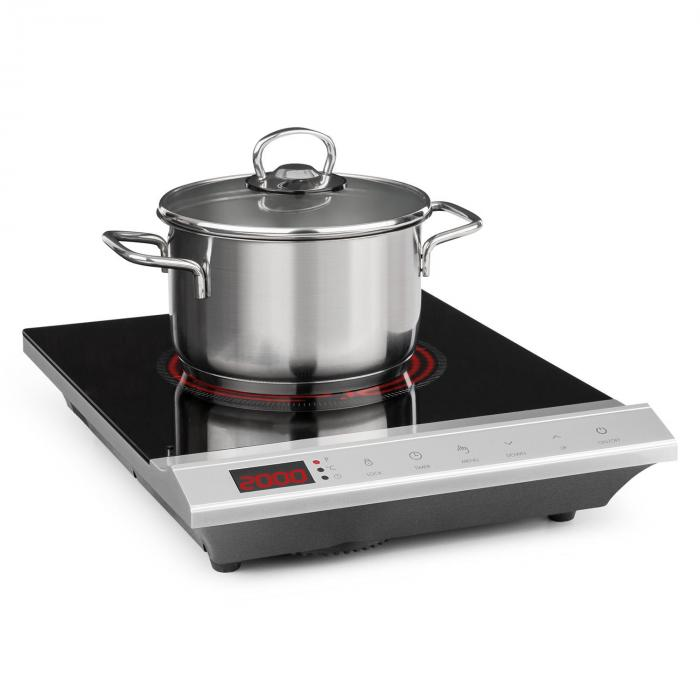 MisterCook Hotplate Infrared 2000W 90-650 ° C Shut-Off Timer Silver