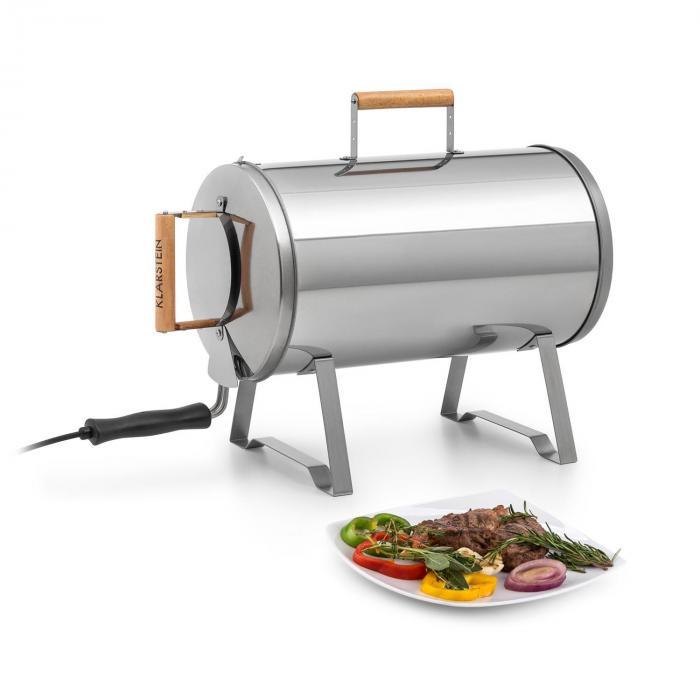 Klarstein Gourmet Barrel, Wędzarnia nierdzewna, stal szlachetna 0,6mm, uchwyty drewniane, srebrny