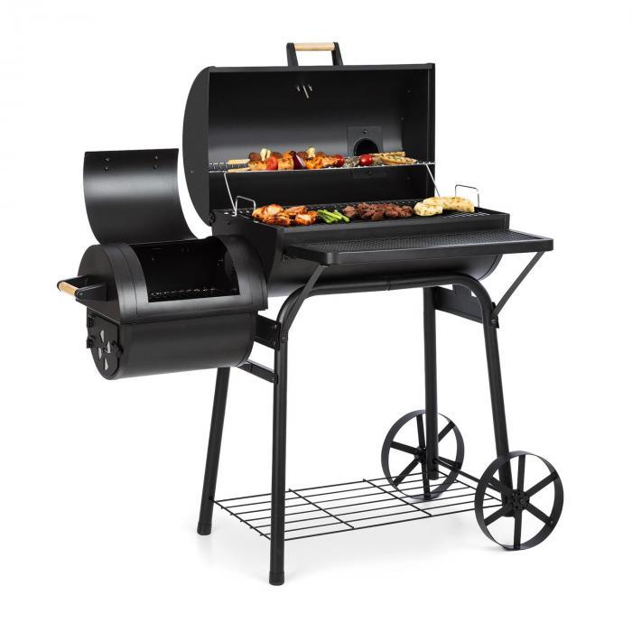 Klarstein Beef Brisket smoker grill wędzarnia termometr kółka osłona, czarny