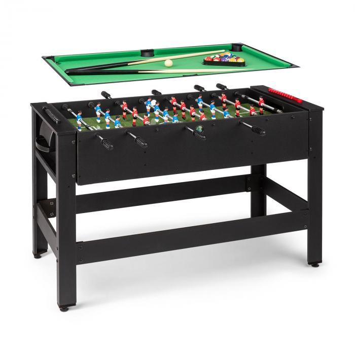 KLARFIT Spin 2 w 1, stół do gier, bilard, piłkarzyki, 180° obrotowy, akcesoria do gier, czarny