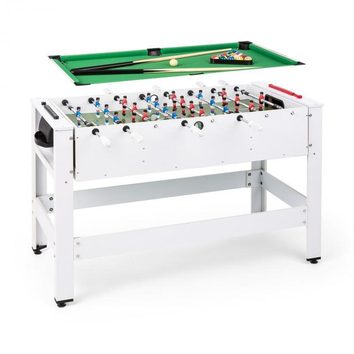 KLARFIT Spin 2 w 1, stół do gier, bilard, piłkarzyki, 180° obrotowy, akcesoria do gier, biały