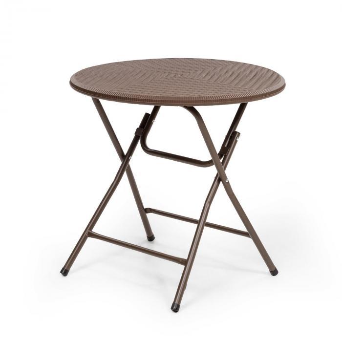 Blumfeldt Burgos Round stół składany technorattan Ø blatu 80 cm 4 os. brązowy