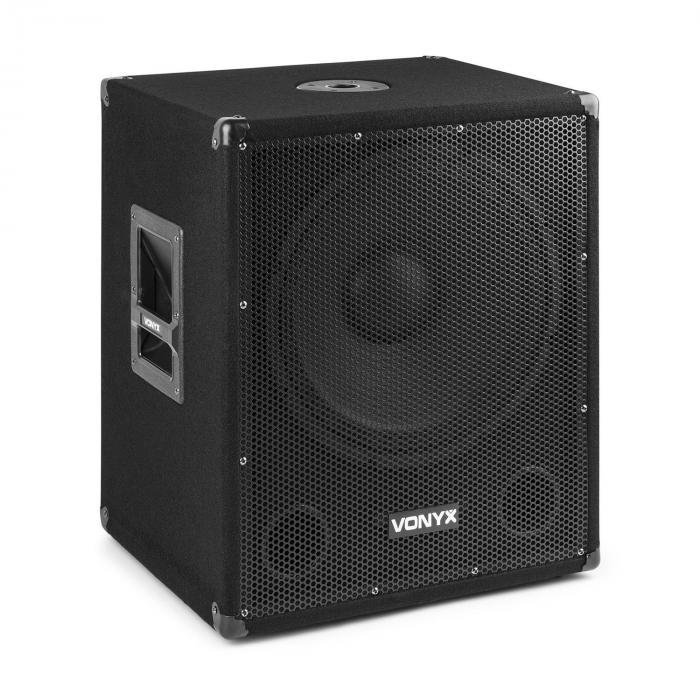 """Vonyx SMWBA15 Subwoofer aktywny 15"""" 600 W maks. BT MP3 złącze kołnierzowe"""