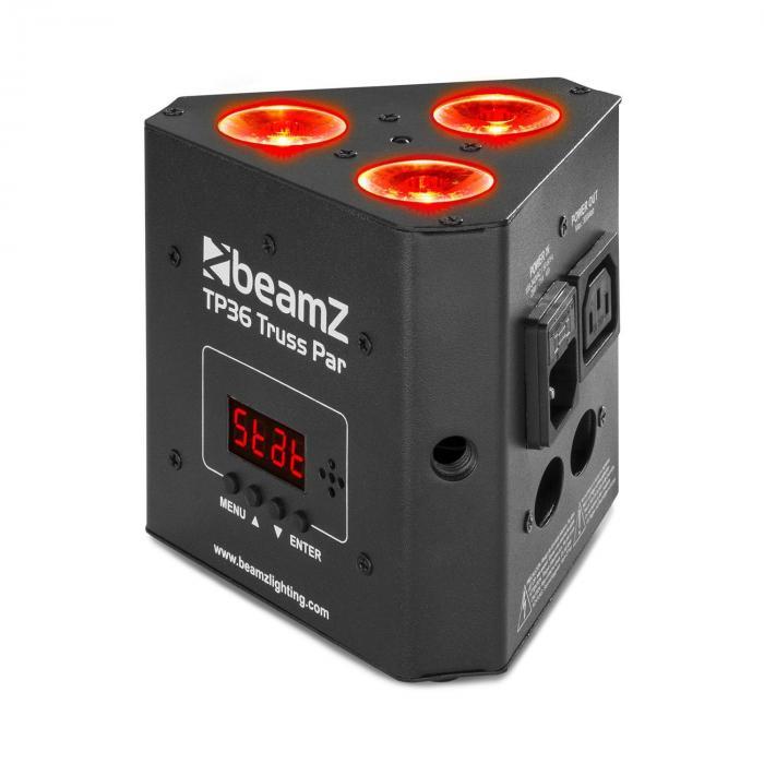 Beamz TP 36 Truss Par, uplight reflektor, 3 x 4 W 4 v 1 LED dioda, RGB-UV, LED wyświetlacz