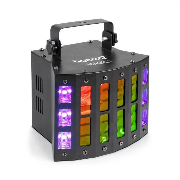 Beamz Magic 1, projektor Derby, świetlny efekt stroboskopowy/ultrafioletowy, 7 kanałów DMX, kolor czarny