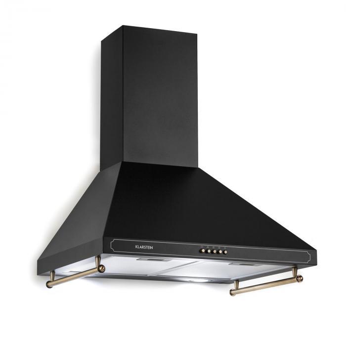 Klarstein Victoria, okap kuchenny, 60 cm, stylistyka retro, 645 m3/h, 2 lampki LED, kolor czarny