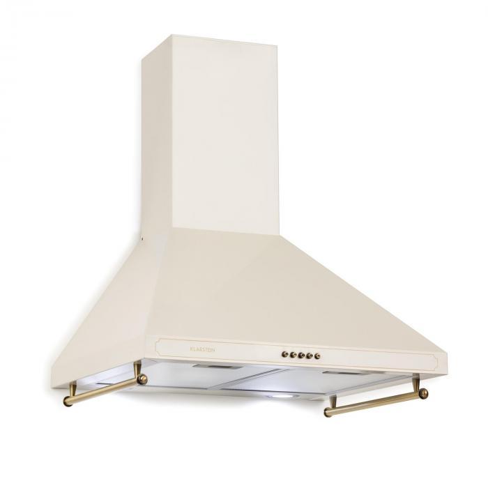 Klarstein Victoria, okap kuchenny, 60 cm, stylistyka retro, 645m3/h, 2 lampki LED, kolor kości słoniowej