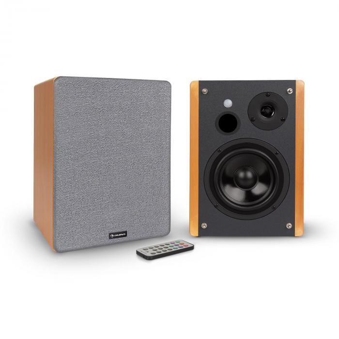 Auna Line 500 A, głośniki regałowe, para głośników aktywnych, 2 x 30 W, wejście opt / coax, wygląd drewniany