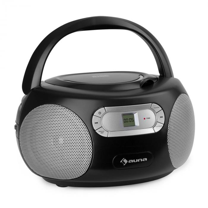 Auna Haddaway, CD boombox, CD odtwarzacz, bluetooth, FM, AUX wejście, LED wyświetlacz, czarny