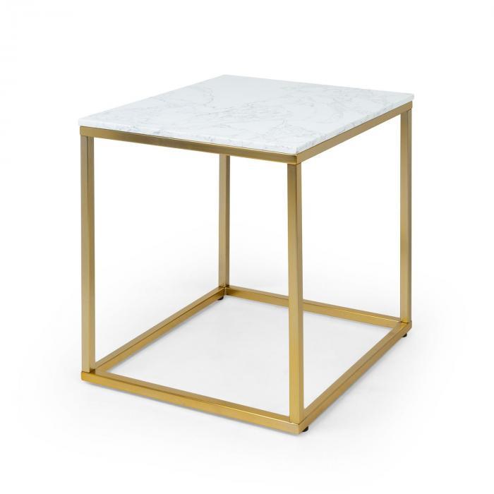 Besoa White Pearl I, stolik kawowy, 50 x 50 x 50 cm (szer x wys x gł), imitacja marmuru, złoty/biały
