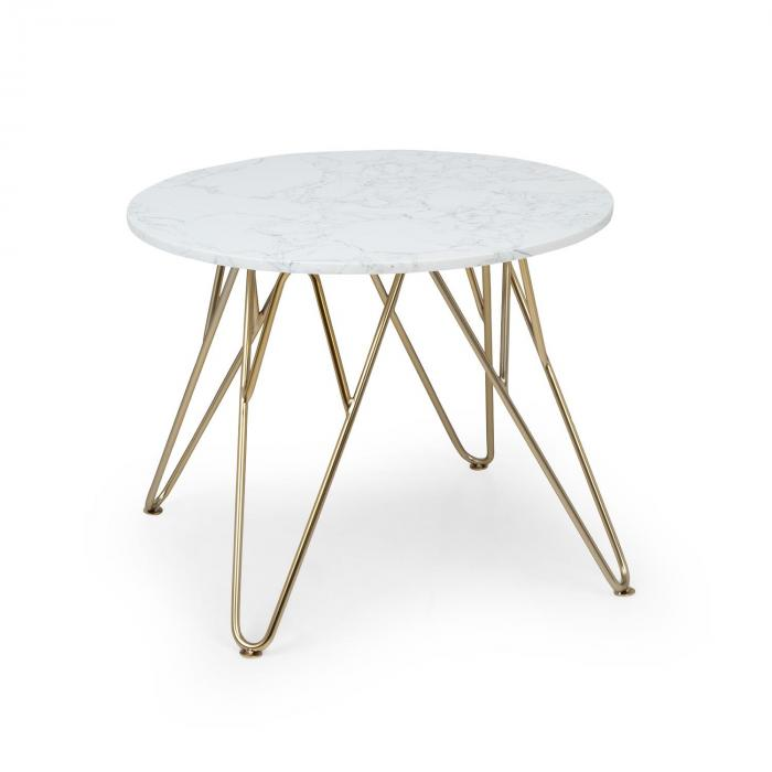 Round Pearl Coffee Table 55 x 45 cm (ØxH) Marble Gold / White