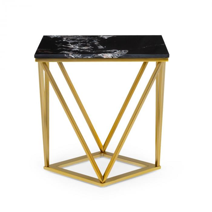 Besoa Black Onyx II, stolik kawowy, 50 x 55 x 35 cm, (szer. x wys. x gł.), imitacja marmuru, złoty/czarny