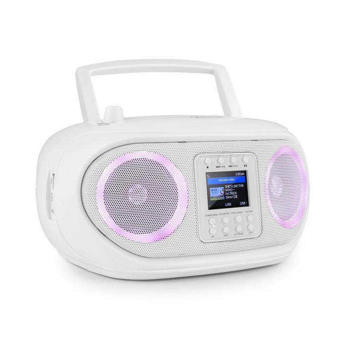 Auna Roadie Smart, boombox, radio internetowe DAB/DAB+, UKF, odtwarzacz CD, oświetlenie LED, Wi-Fi, Bluetooth