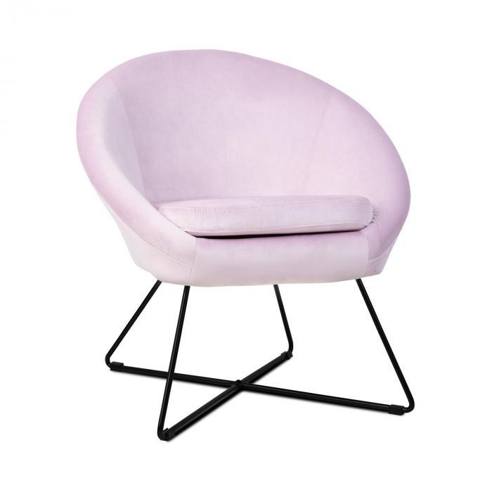 Besoa Emily, fotel tapicerowany, tapicerka piankowa, obicie poliestrowe, aksamit, stal, kolor różowy