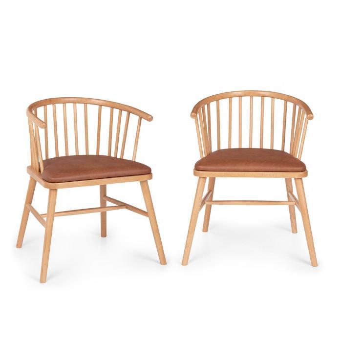 Besoa Nyssa, para krzeseł do jadalni, drewno bukowe, poduszki na siedzisko ze sztucznej skóry, brązowe