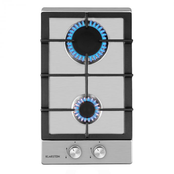 Ignito Domino Gas Hob 2 Sabaf Burners Stainless Steel Silver