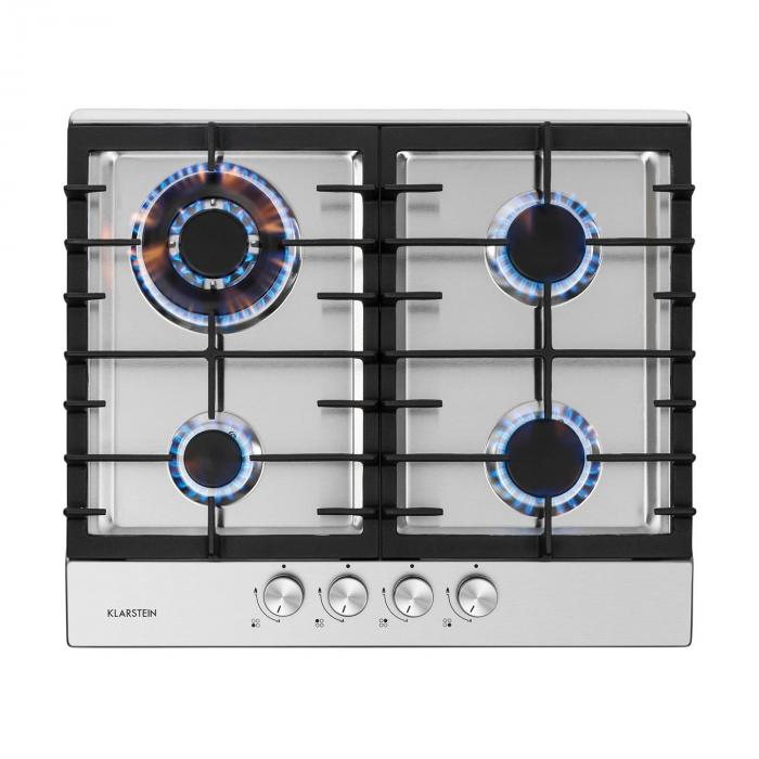 Ignito 4 Zones Gas Hob 4 Flames Sabaf Burner Stainless Steel Silver