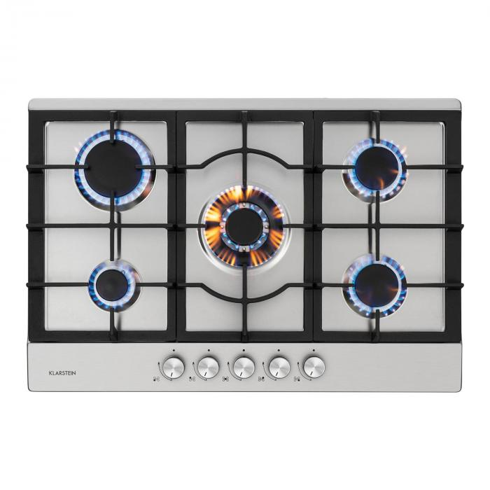 Ignito 5 Zones Gas Hob 5 Flames Sabaf Burner Stainless Steel Silver