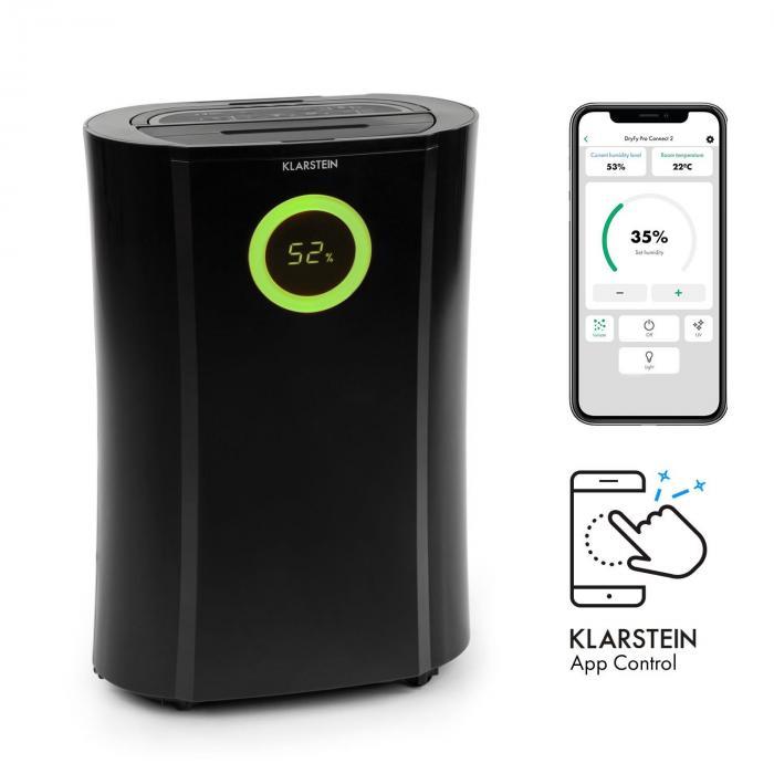 Klarstein DryFy Pro Connect, osuszacz powietrza, Wi-Fi, kompresja, 20 l/24 h, 20 m2, 370 W, kolor czarny