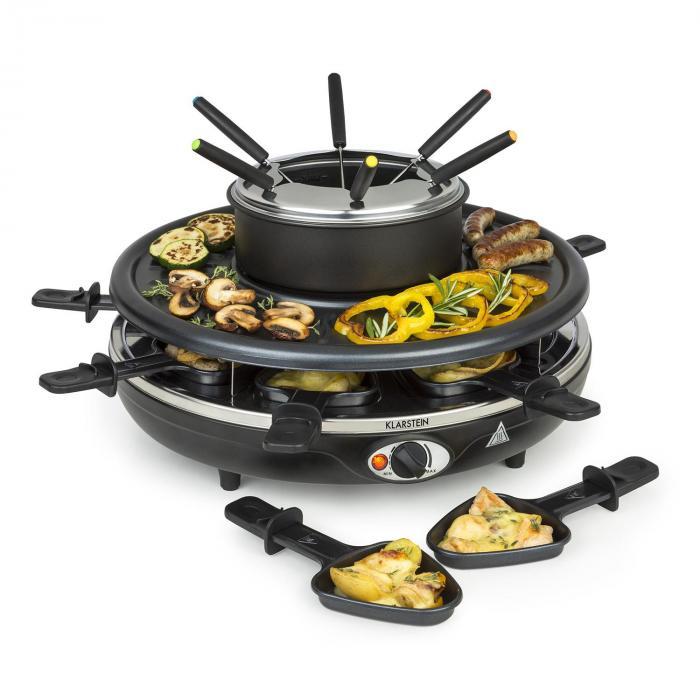 Klarstein Fonduelette, grill raclette i fondue, 1 l, 38 cm średnicy, na 8 osób, 1350 W
