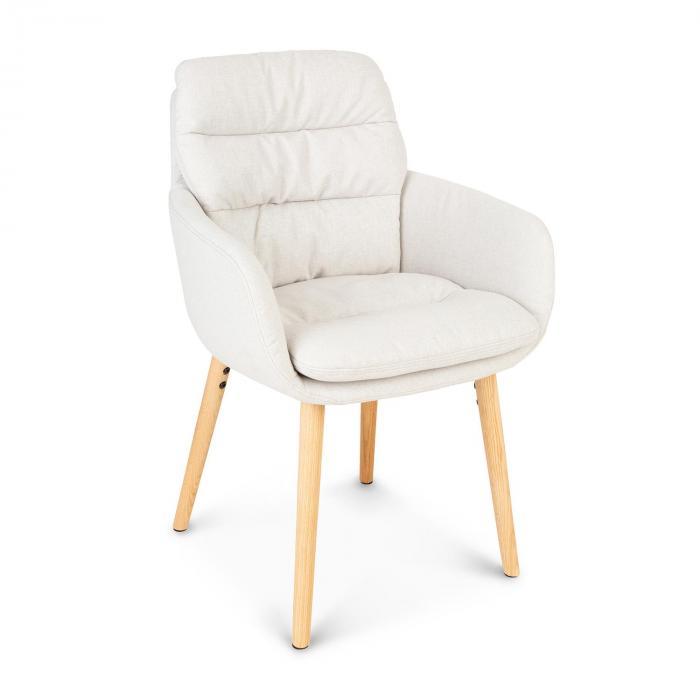 Besoa Doug, fotel tapicerowany, tapicerka piankowa, 100% poliester, nogi drewniane, kremowy