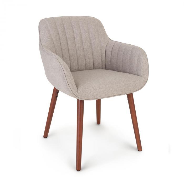 Besoa Iris, fotel tapicerowany, tapicerka piankowa, poliester, nogi drewniane, szary melanżowany