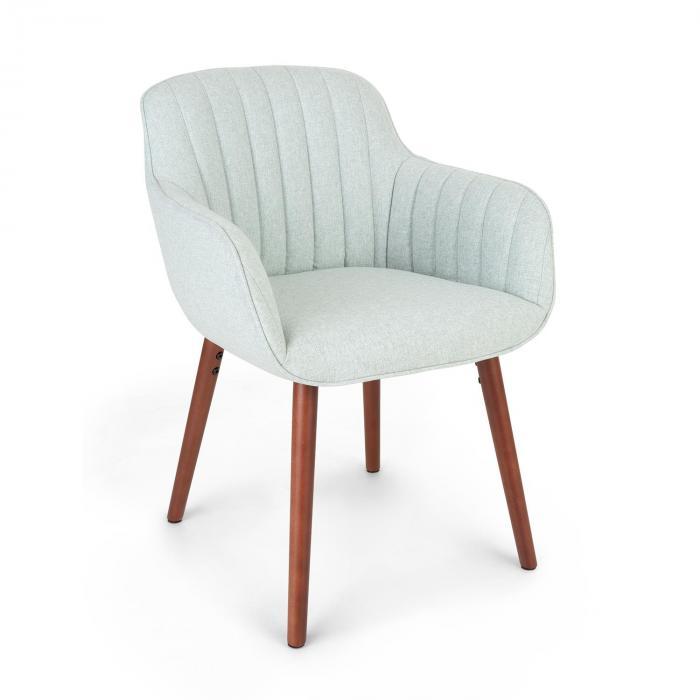 Besoa Iris, fotel tapicerowany, tapicerka piankowa, obicie poliestrowe, nogi drewniane, jasnozielony