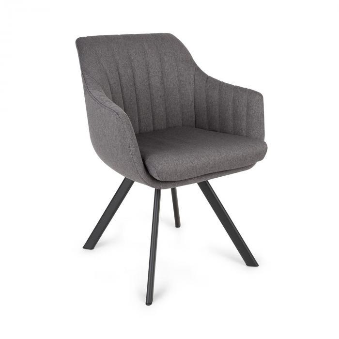 Besoa Roger, fotel tapicerowany, tapicerka piankowa, poliester, nogi stalowe, ciemnoszary