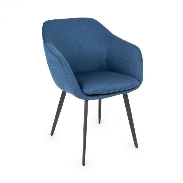 Besoa James, fotel tapicerowany, tapicerka piankowa, poliester, nogi stalowe, ciemnoniebieski