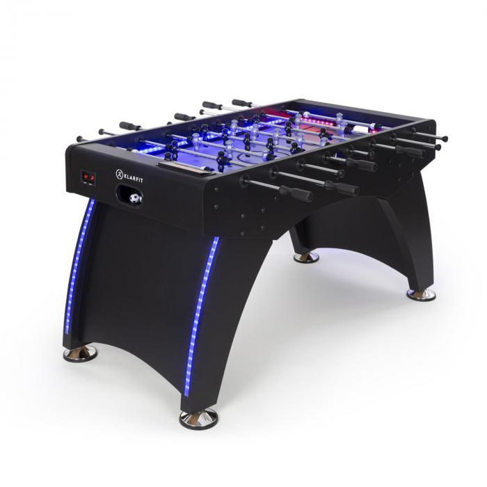 KLARFIT Arrowhead, piłkarzyki stołowe, 117 x 68, LED oświetlenie, automatyczne liczenie bramek, czarne