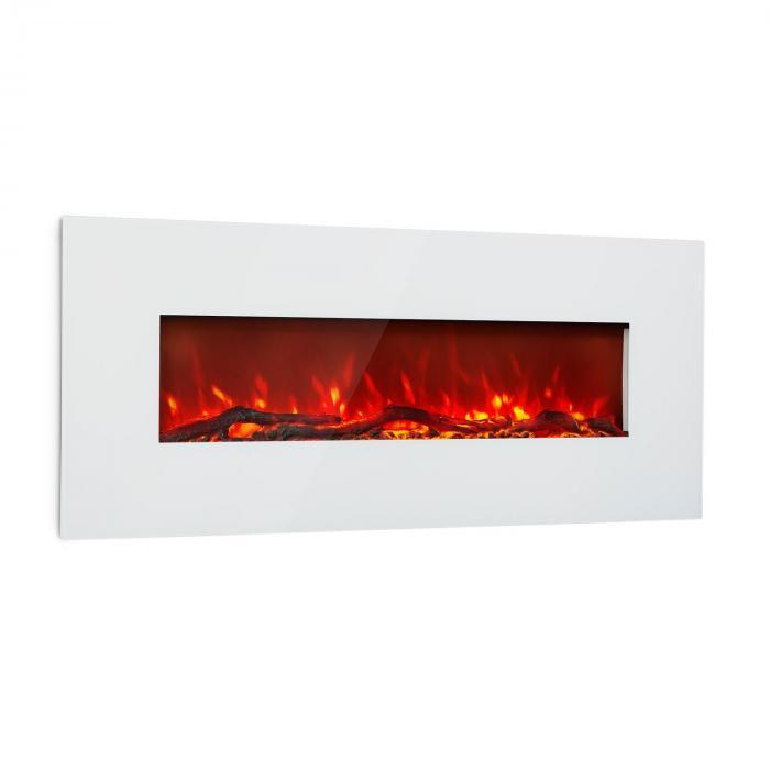 Lausanne Long Chimenea eléctrica 1600W 2 niveles de calefacción 128 cm Blanca