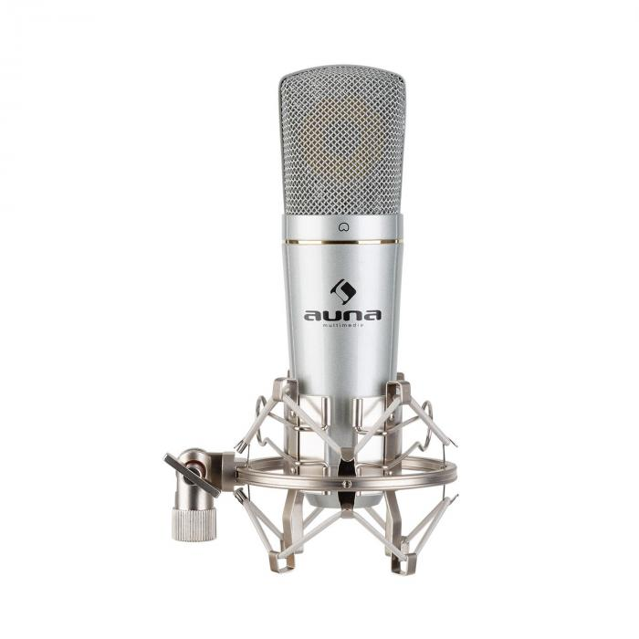 Auna MIC-920 USB, mikrofon pojemnościowy, USB, wyjście słuchawkowe, plug & play, srebrny