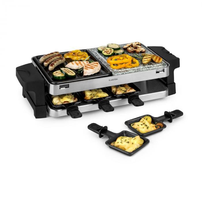 Klarstein Sirloin, grill raclette, aluminium/kamień, na 8 osób, lampka kontrolna LED, 1500 W
