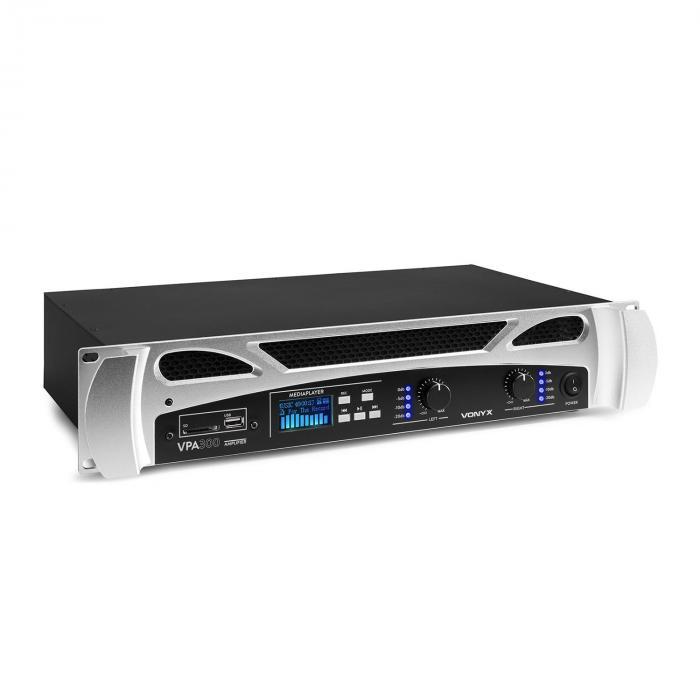 Vonyx FPA300 PA Wzmacniacz 2 x 150 W Funkcja BT Media Player LED USB SD