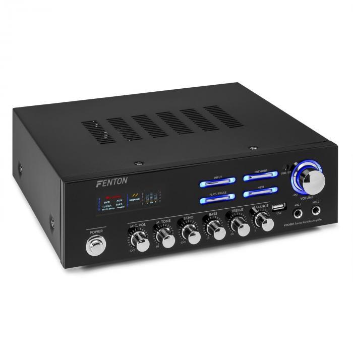 Fenton AV120BT, stereo HiFi wzmacniacz, 120 W RMS, (2 x 60 W na 8 Ohm), BT/USB/AUX