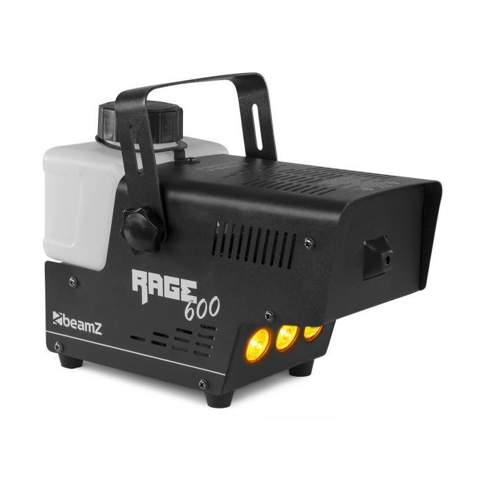 Beamz Rage 600LED, wytwornica mgły, 600 W, 65 m3/min, 3 x dioda LED, 0,5 l, pilot przewodowy