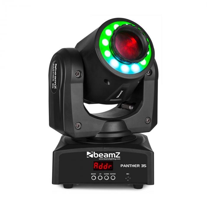 Beamz Panther 35, ruchomy spot LED, biała dioda LED o mocy 35 W, 12 diod SMD LED w spektrum barw RGB, kolor czarny