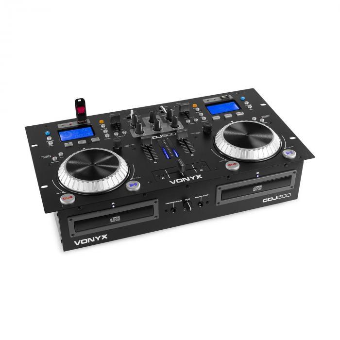 Vonyx Stanowisko Pracy CDJ500 DJ 200 W 2 Odtwarzacz CD BT 2 x Port USB 2-kanałowy mikser