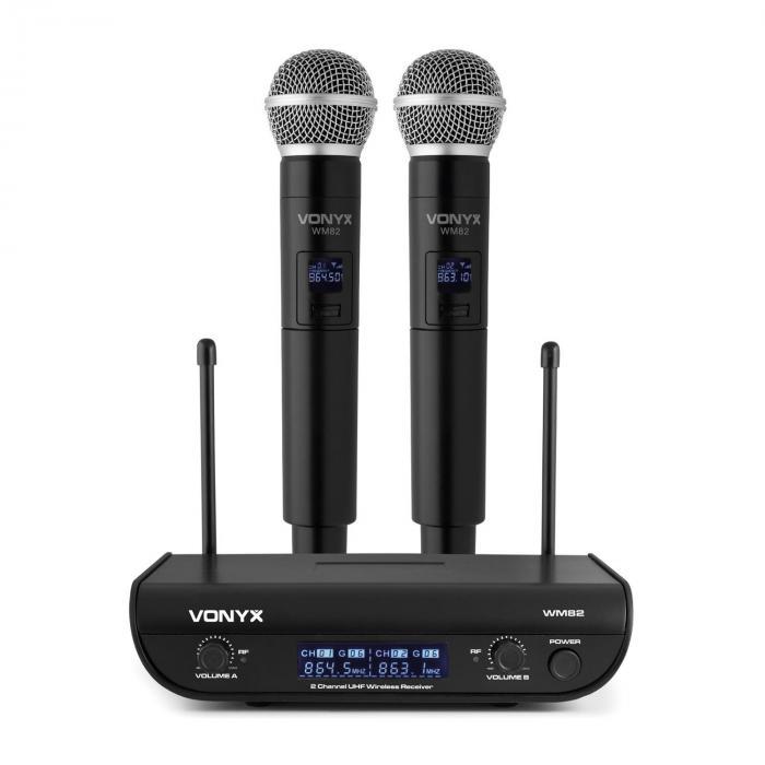 Vonyx WM82 Digital, zestaw 2-kanałowych mikrofonów bezprzewodowych UHF, 2 mikrofony ręczne, 50 m, czarny
