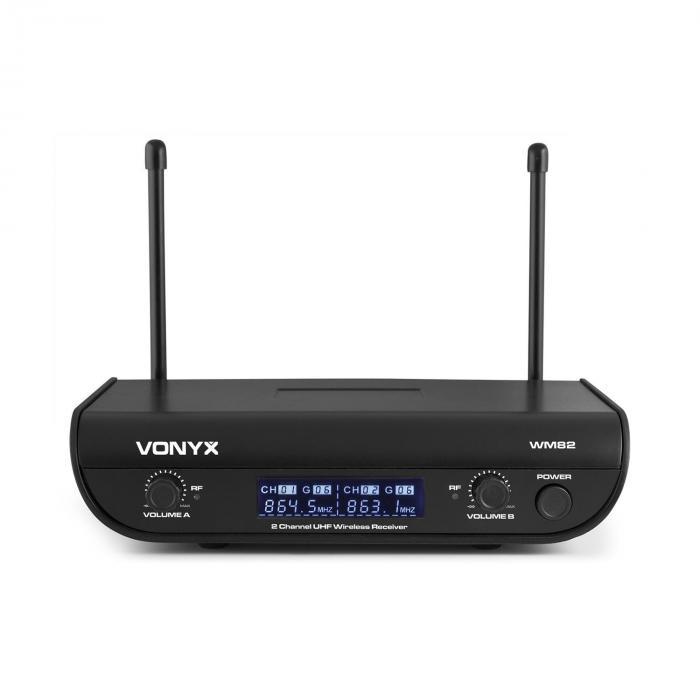Vonyx WM82C Digital, 2-kanałowy bezprzewodowy zestaw mikrofonów UHF, mikrofon nagłowny i mikrofon ręczny, 50 m, walizka