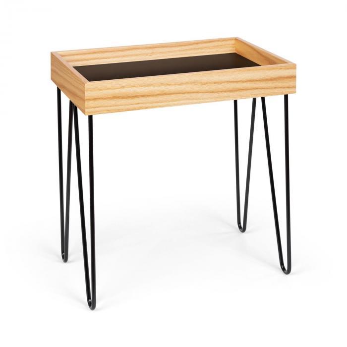 Besoa Little Lyon, stolik kawowy, melamina/MDF z dębowym fornirem, stalowa ramka, czarny