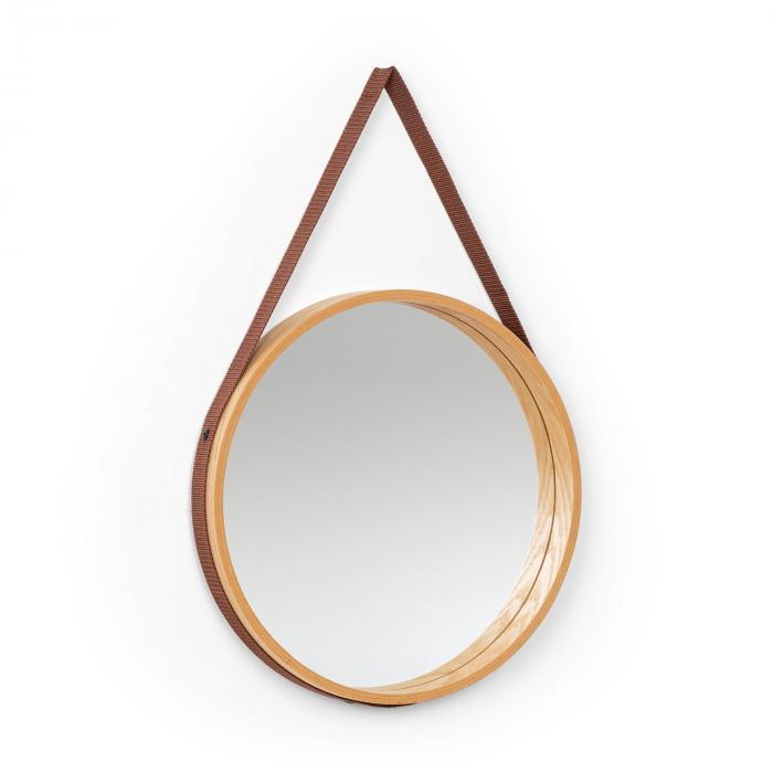 Besoa Lynn, lustro ścienne, 35,5 cm śr., okleina dębowa, pasek z tworzywa sztucznego, drewno